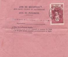 YT 335 Corneille Seul Sur Avis De Paiement Paris 22/03/37 - Poststempel (Briefe)