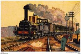 P.O. 1872 Train Rapide Paris - Bordeaux Remorqué Par Une Machine à Essieu Indépendant Type Forquenot   TBE - Treni