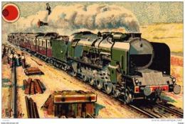 """P.L.M 1932 """"Côte D'Azurb Pulman Express"""" Train De Luxe  PARIS-VINTIMILLE Machine """"Mountain"""" 3 Eme Type 241-C.I. - Treni"""