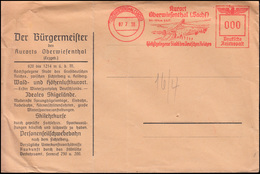 """AFS Kurort Oberwiesenthal / Sachsen 7.7.38 """"000"""" Blanko-Brief Vom Bürgermeister  - Winter (Other)"""