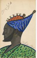 Art Card Hand Painted Abdoulaye . Written In Arabic . King Profile . - Ansichtskarten