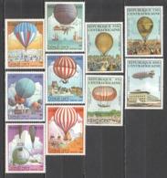 C530 1983 CENTRAFRICAINE LAO AVIATION BALLOONS ZEPPELINS 2SET MNH - Fesselballons