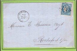GC 3754 Charente ST MARTIN DE RÉ 1871 Em. Bordeaux → Rochefort - Marcophilie (Lettres)