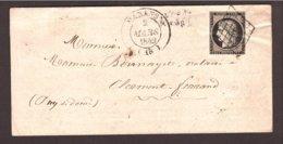 Charente 20c NOIR Cérès De Marans → Puy De Dôme Mars 1849 - Marcophilie (Lettres)