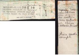 """Talon De Chèque Postal-"""" Oeuvres Sociales De Mr Le Maréchal Pétain """"- Cachet: Le Secrétaire Particulier:Ménétrel- - Documenti"""