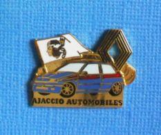 1 PIN'S //   ** RENAULT CLIO 16S / AJACCIO AUTOMOBILES ** . (WINNER) - Renault