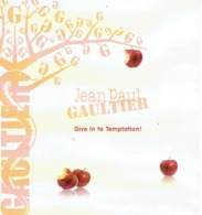 "Large Et RARE Rabat Jean-Paul GAULTIER  - SAINT-VALENTIN ""Give In To Temptation - Perfume Card USA - 19,2 X 21 Cm - Duftkarten"