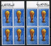 RC 14445 MAROC N° 710 / 711 FOOTBALL SOCCER ALLEMAGNE MUNICH COUPE DU MONDE BLOC DE 4 COTE 212,00€  NEUF ** - Morocco (1956-...)