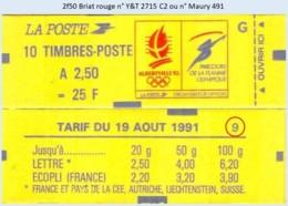 FRANCE - Carnet Conf. 9 - 2f50 Briat Rouge - YT 2715 C2 / Maury 491 - Postzegelboekjes