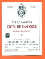 étiquette De Vin Des Cotes De Gascogne Rouge Bouchard Ainé à Bordeaux - 75 Cl - Vin De Pays D'Oc