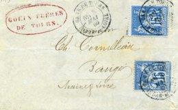 90a Sage Bleu Sur Bleu Tarif 30c 2ème échelon Gare De Tours Indre Et Loire 1880 Type 18 Pour Baugé Bordereau Goüin - Marcophilie (Lettres)