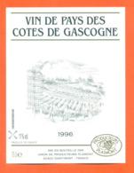 étiquette De Vin De Pays Des Cotes De Gascogne 1996 à Plaimont Saint Mont - 75 Cl - Vin De Pays D'Oc