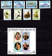 Iles Vierges 1983-91, Bateaux, Oiseaux, Noël, 535 / 542** + BF 20-45-70/71**, Cote 57,50 € - British Virgin Islands