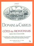 étiquette De Vin Cotes Du Frontonnais Domaine De Carrelis1983 à 19102 - 75 Cl - Vin De Pays D'Oc