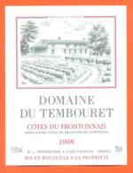 étiquette De Vin Cotes Du Frontonnais Domaine Du Tembouret 1998 à Fronton - 75 Cl - Vin De Pays D'Oc
