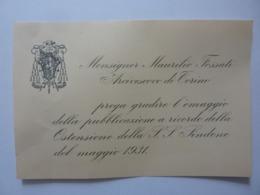 """Biglietto Con Busta """"Monsignor Maurilio Fossati - Omaggio Pubblicazione Ricordo Ostensione Sacra Sindone 1931"""" - Documenti Storici"""