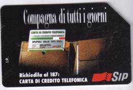 ITALIA ITALY SCHEDA TELEFONICA CARTA DI CREDITO SIP COMPAGNA DI TUTTI I GIORNI USATA USED LIRE 10000 - Italia