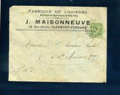102 Sage Tarif 5c Papiers D'affaires Clermont Ferrand Puy De Dôme 1900 Fabrique De Liqueurs Spiritueux Vins Maisonneuve - Postmark Collection (Covers)