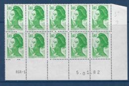 "FR Coins Datés YT 2186 Bloc De 10 "" Liberté 1F40 Vert "" Neuf** Du 5.01.82 - 1980-1989"
