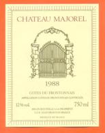étiquette De Vin Cotes Du Frontonnais Chateau Majorel 1988 CCF à Fronton - 75 Cl - Vin De Pays D'Oc