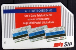 ITALIA ITALY SCHEDA TELEFONICA CARTA DI CREDITO SIP ALLE POSTE CHIEDI DI ME USATA USED LIRE 5000 - Italië