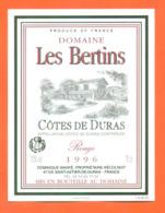étiquette De Vin Cotes De Duras Rouge Domaine Les Bertins 1996 Dominique Manfé à Saint Astier De Duras - 75 Cl - Vin De Pays D'Oc