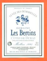 étiquette De Vin Cotes De Duras Domaine Les Bertins Cuvée Des Demois1995 Dominique Manfé à Saint Astier De Duras - 50 Cl - Vin De Pays D'Oc