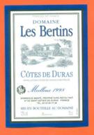 étiquette De Vin Cotes De Duras Domaine Les Bertins Moelleux 1998 Dominique Manfé à Saint Astier De Duras - 75 Cl - Vin De Pays D'Oc