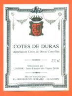 étiquette De Vin Cotes De Duras Unidor à Saint Laurent Des Vignes Ets Bourgeois Lemaire à Glageon - 73 Cl - Vin De Pays D'Oc