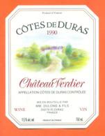 étiquette De Vin Cotes De Duras Chateau Verdier 1990 Dulong Et Fils à Floirac - 75 Cl - Vin De Pays D'Oc