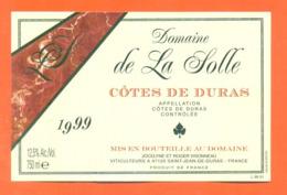 étiquette De Vin Cotes De Duras Domaine De La Solle 1999 Visonneau à Saint Jean De Duras - 75 Cl - Vin De Pays D'Oc