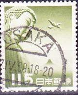 Japan - Buddha-Statue Von Kamakura, Fujisan Und DC 4 (MiNr: 617) 1953 - Gest Used Obl - Posta Aerea