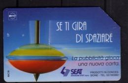 ITALIA ITALY SCHEDA TELEFONICA CARTA DI CREDITO SEAT TROTTOLE SE TI GIRA DI SPAZIARE USATA USED LIRE 5000 - Italie