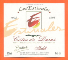 étiquette De Vin Cotes De Duras Les Estivales 1998 Vignerons à Berticot - 75 Cl - Vin De Pays D'Oc