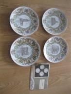 4 Kunstborden Met Certificaat Van De Stad Lokeren - Porselein & Ceramiek