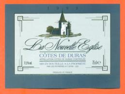 étiquette De Vin Cotes De Duras La Nouvelle église 1993 Les Peyrières à 33790 - 75 Cl - Vin De Pays D'Oc