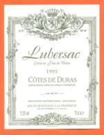 étiquette De Vin Cotes De Duras Lubersac 1995 Les Peyrières à 33790 - 75 Cl - Vin De Pays D'Oc