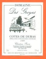 étiquette De Vin Cotes De Duras Domaine Les Groyes 1989 Christian Piccin à Villeneuve De Duras - 75 Cl - Vin De Pays D'Oc
