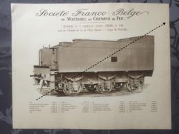 Affiche - Planche Train FRANCO BELGE DE MATERIEL DE CHEMINS DE FER De L'état Chinois Ligne Du Kin Han Chine - Spoorweg