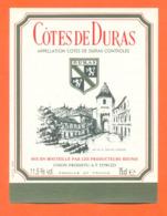 étiquette De Vin Cotes De Duras Union Prodiffu à 33790 - 75 Cl - Vin De Pays D'Oc