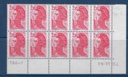 """FR Coins Datés YT 2319 Bloc De 10 """" Liberté 2F1 Rouge """" Neuf** Du 19.11.84 - 1980-1989"""