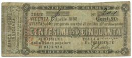 50 CENTESIMI BIGLETTO FIDUCIARIO BANCA POPOLARE DI VICENZA 01/04/1868 BB - [ 1] …-1946 : Regno