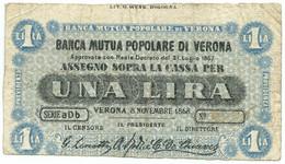 1 LIRA BIGLIETTO FIDUCIARIO BANCA MUTUA POPOLARE DI VERONA 08/11/1868 BB - [ 1] …-1946 : Regno