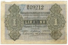1 LIRA BIGLIETTO FIDUCIARIO BANCA MUTUA POPOLARE DI VERONA 02/10/1871 BB/BB+ - [ 1] …-1946 : Regno