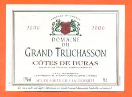 étiquette De Vin Cotes De Duras Domaine Du Grand Truchasson 2000 Teyssandier à Saint Jean De Duras - 75 Cl - Vin De Pays D'Oc