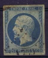 France: Yv 15  Obl./Gestempelt/used   Damaged  Avec Dommages 1853 - 1853-1860 Napoleon III