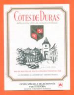étiquette De Vin Cotes De Duras Cuvée Spéciale Sélectionnée Par Hedera à Landerrouat - 75 Cl - Vin De Pays D'Oc