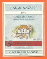 étiquette De Vin Cotes De Duras Cuvée Jean De Navarre 1995 à Landerrouat - 75 Cl - Vin De Pays D'Oc