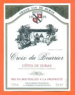 étiquette De Vin Cotes De Duras Croix De Beurrier 1989 Les Producteurs Réunis à Landerrouat - 75 Cl - Vin De Pays D'Oc