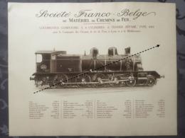 Affiche - Planche Train FRANCO BELGE DE MATERIEL DE CHEMINS DE FER De Paris à Lyon Et à La Mediterranée - Spoorweg